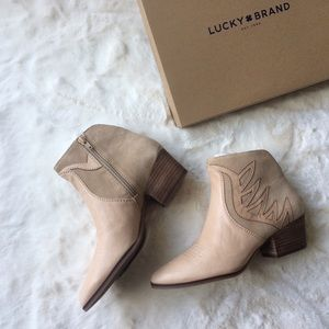 NEW IN BOX Luck Brand Leather/Suede Ankle Boots